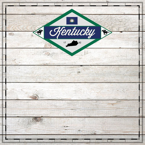 Scrapbook Customs - State Sightseeing Collection - 12 x 12 Paper - Wood - Kentucky