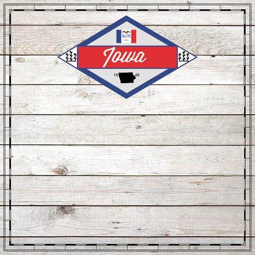 Scrapbook Customs - State Sightseeing Collection - 12 x 12 Paper - Wood - Iowa