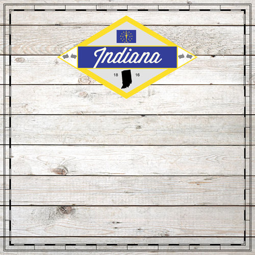 Scrapbook Customs - State Sightseeing Collection - 12 x 12 Paper - Wood - Indiana