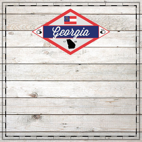 Scrapbook Customs - State Sightseeing Collection - 12 x 12 Paper - Wood - Georgia