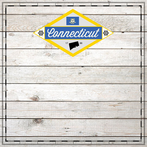 Scrapbook Customs - State Sightseeing Collection - 12 x 12 Paper - Wood - Connecticut