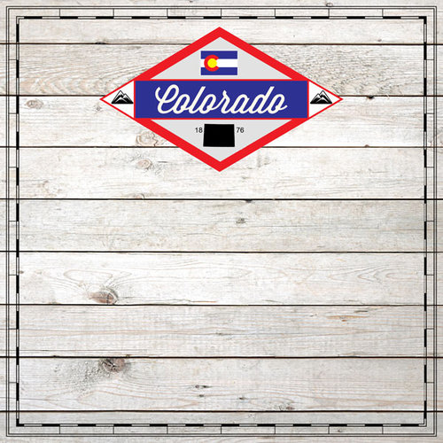 Scrapbook Customs - State Sightseeing Collection - 12 x 12 Paper - Wood - Colorado