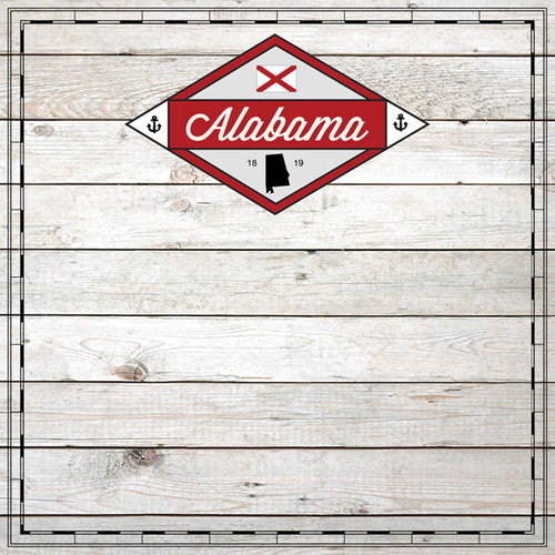 Scrapbook Customs - State Sightseeing Collection - 12 x 12 Paper - Wood - Alabama