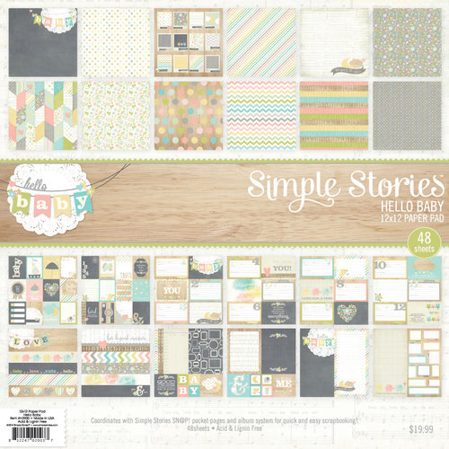 Simple Stories - Hello Baby Collection - 12 x 12 Paper Pad