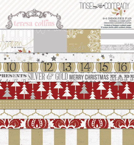 Teresa Collins Designs - Tinsel and Company Collection - Christmas - 6 x 6 Paper Pad