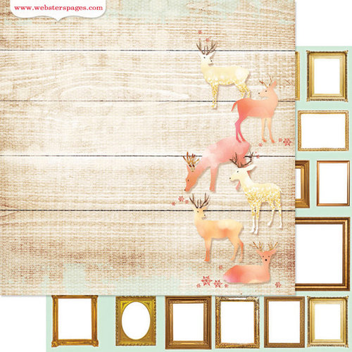 Websters Pages - All That Glitters Collection - Christmas - 12 x 12 Double Sided Paper - Deer Ones