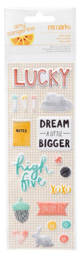 American Crafts - Amy Tangerine Collection - Stitched - Puffy Stickers - With Love