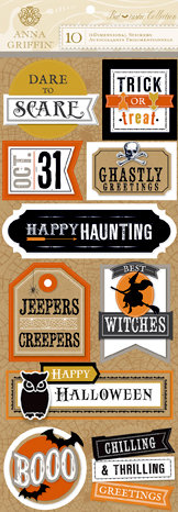 Anna Griffin - Battastic Collection - Halloween - 3 Dimensional Stickers - Titles