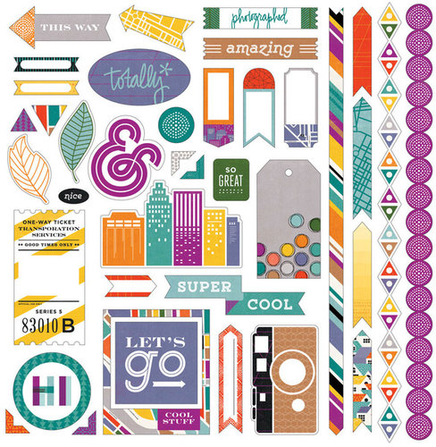 BasicGrey - Second City Collection - 12 x 12 Cardstock Stickers - Elements