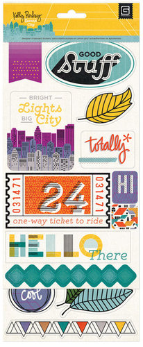 BasicGrey - Second City Collection - Printed Chipboard Stickers - Shapes