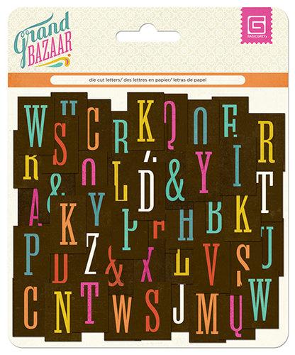 BasicGrey - Grand Bazaar Collection - Printed Chipboard Stickers - Alphabet