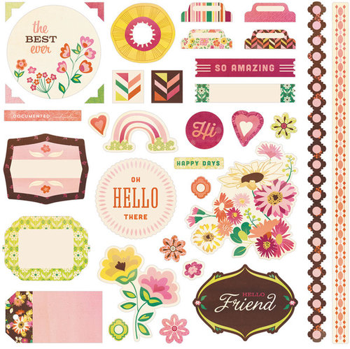 BasicGrey - Vivienne Collection - 12 x 12 Cardstock Stickers - Elements