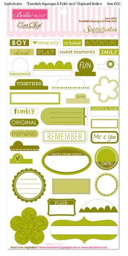 Bella Blvd Sophisticate Ciao Chip Self Adhesive Chipboard Asparagus Pickle Juice