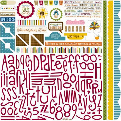 Bella Blvd - Thankful Collection - 12 x 12 Cardstock Stickers - Alphabet and Bits