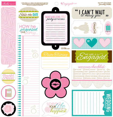 Bella Blvd - Engaged At Last Collection - 12 x 12 Cardstock Stickers - Just Write