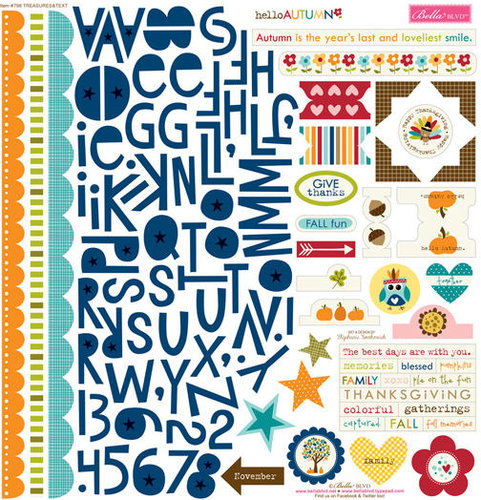 Bella Blvd - Hello Autumn Collection - 12 x 12 Cardstock Stickers - Treasures and Text