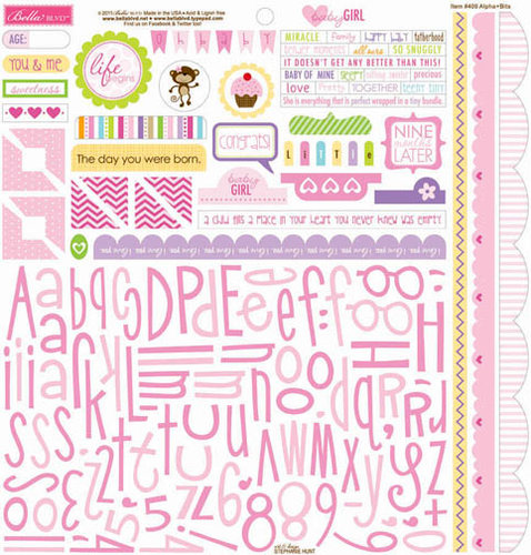Bella Blvd - Baby Girl Collection - 12 x 12 Cardstock Stickers - Alphabet and Bits