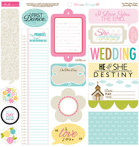 Bella Blvd - Love and Marriage Collection - 12 x 12 Cardstock Stickers - Just Write
