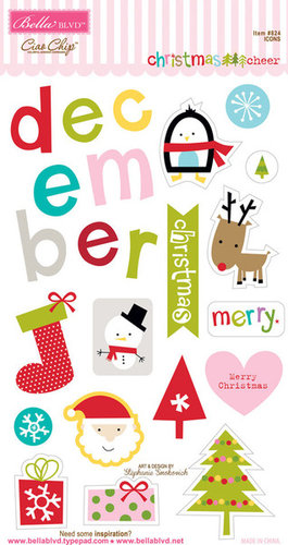 Bella Blvd - Christmas Cheer Collection - Ciao Chip - Self Adhesive Chipboard - Icons