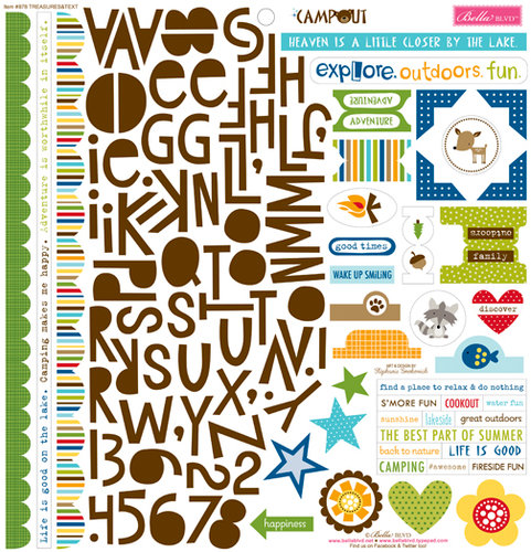 Bella Blvd - Campout Collection - 12 x 12 Cardstock Stickers - Treasures and Text