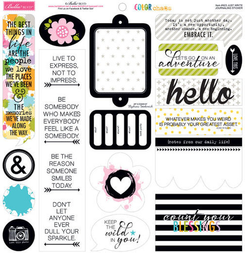 Bella Blvd - Color Chaos Collection - 12 x 12 Cardstock Stickers - Just Write