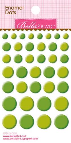 Bella Blvd - Color Chaos Collection - Enamel Stickers - Dots - Guacamole