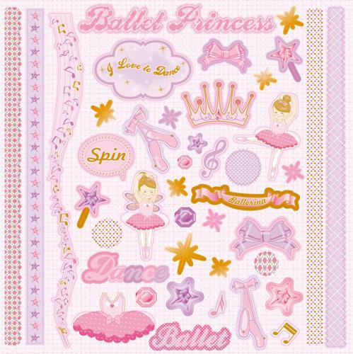 Best Creation Inc Ballet Princess Glittered Cardstock Stickers Element