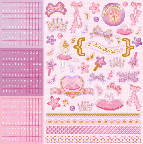 Best Creation Inc Ballet Princess Collection Glittered Cardstock Stickers Combo