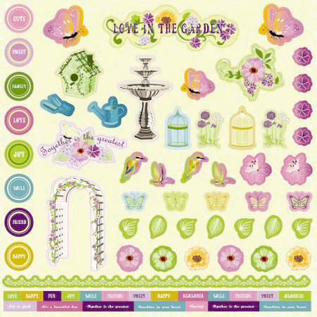 Best Creation Inc - A Walk in the Garden Collection - Glittered Cardstock Stickers - Element