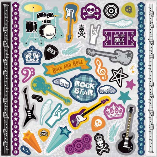 Best Creation Inc - Rock Star Collection - Glitter Cardstock Stickers - Element