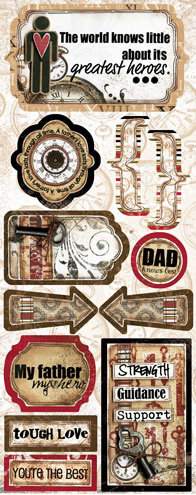 Bo Bunny Press - Timepiece Collection - Cardstock Stickers - Dad Knows Best