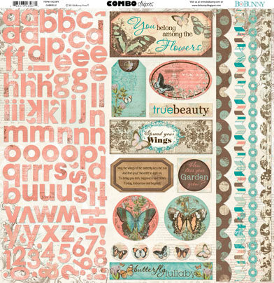Bo Bunny Press Gabrielle Collection 12 x 12 Cardstock Stickers Gabrielle Combo