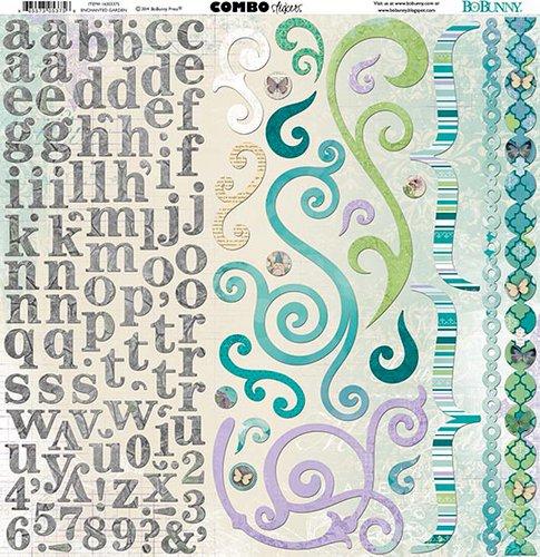Bo Bunny - Enchanted Garden Collection - 12 x 12 Cardstock Stickers - Combo