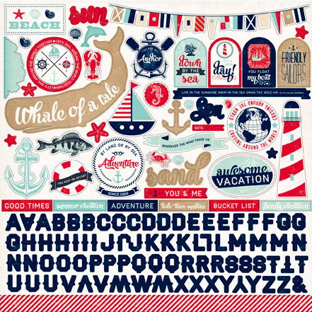 Carta Bella Paper - Ahoy There Collection - 12 x 12 Cardstock Stickers