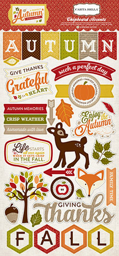 Carta Bella Paper - A Perfect Autumn Collection - Chipboard Stickers