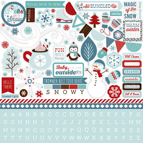 Carta Bella Paper - All Bundled Up Collection - Christmas - 12 x 12 Cardstock Stickers - Element Sticker