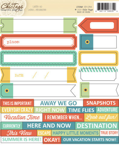 Chic Tags - Lets Go Collection - Cardstock Stickers - Labels