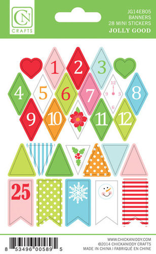 Chickaniddy Crafts - Jolly Good Collection - Christmas - Cardstock Stickers - Mini Banners