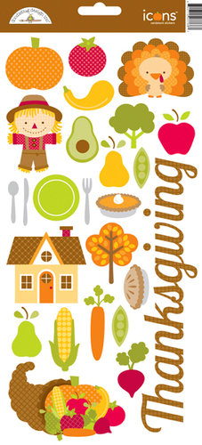 Doodlebug Design - Happy Harvest Collection - Cardstock Stickers - Icons - Thanksgiving