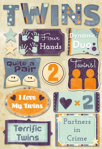 Karen Foster Design - Twins Collection - Cardstock Stickers - Terrific Twins