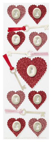 Martha Stewart Crafts Valentine 3D Stickers with Glitter Accents Heart and Key
