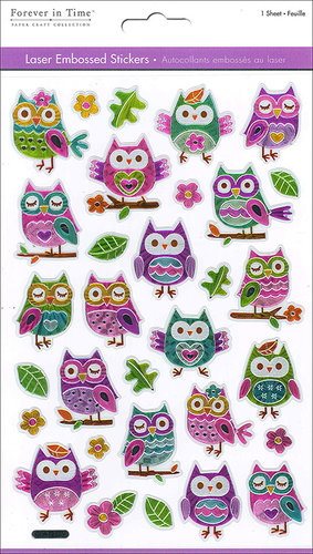 Multi Craft - Laser Stickers - Embossed Owls