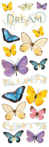 Paper House Productions - Butterfly Collection - Glitter Rub Ons - Dream