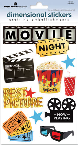 Paper House Productions - Movies Collection - 3 Dimensional Cardstock Stickers with Glitter and Glossy Accents - Movie Night