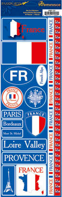 Reminisce - Passports Collection - Cardstock Stickers - France