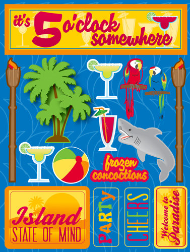 Reminisce Signature Series 3 Dimensional Die Cut Stickers Tropical Party