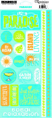 Reminisce - Caribbean Collection - Cardstock Stickers - Paradise Phrase
