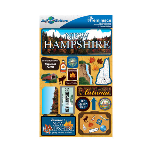 Reminisce - Jetsetters Collection - 3 Dimensional Die Cut Stickers - New Hampshire