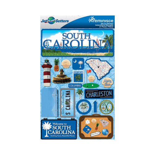 Reminisce - Jetsetters Collection - 3 Dimensional Die Cut Stickers - South Carolina