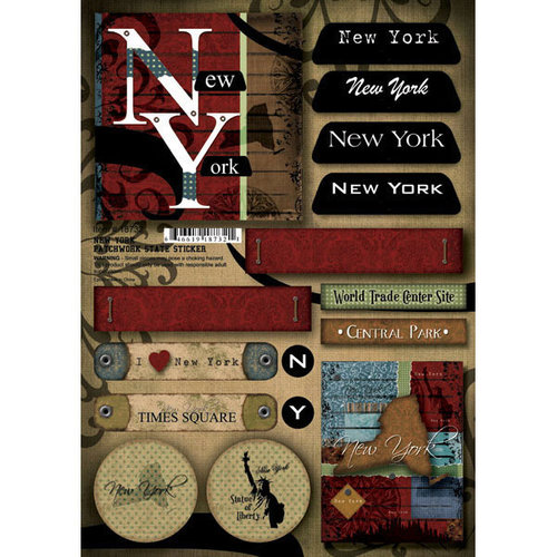Scrapbook Customs United States Collection New York Cardstock Stickers Patchwork